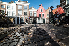 The pink house (PaulHoo) Tags: nikon d750 ultrawideangle wideangle city cityscape 2018 samyang 14mm leiden low pov lowpov pavement street building architecture