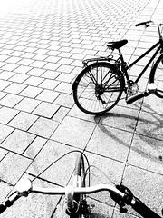 Velo. (marfis75) Tags: klar clear day creativecommons cc white city stadt bruxelles brüssel blackandwhite ride fahren bewegen platz asphalt grau grai monochrom sw schwarzweis marfis75 bicycle bike radfahren radfahrer rad velo