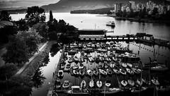 Almost Night (Photo Alan) Tags: blackwhite blackandwhite monochrome vancouver canada landscape city cityscape cityofvancouver water sea boat mountain leicam10