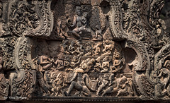 Elaborate Artwork of Many Stories at Banteay Srei Temple, Angkor, Cambodia-67 (Yasu Torigoe) Tags: banteaysrei siemreapprovince cambodia kh