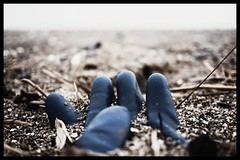 Down on the beach (S Cansfield) Tags: fingers glove blue snapseed panasonic lumix gx7 micro four thirds 20mm f18 wide open unusual sand buried spurn eastyorkshire
