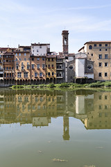 Return to the river (czerwiony Smãtk) Tags: italy firenze river distortion reflection cityscape city sun shadow europe