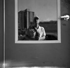 untitled (kaumpphoto) Tags: rolleiflex 120 tlr bw black white reflection door handle selfportrait street urban city minneapolis