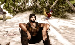 Pensando na vida (The WatcherSL) Tags: man avatar life beach parrot artwork virtual
