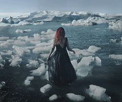 Drown (KaiaPieters) Tags: girl woman red hair blue dress ice icebergs glacier iceland jokulsarlon tones winter cold frozen freezing frost drown sea ocean