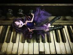 Relaxing to Music (BKHagar *Kim*) Tags: bkhagar draculaura ghoul girl monster monsterhigh doll vampire hmm happymonstermonday piano organ keyboard