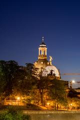 Dresden (moritz k.) Tags: deutschland dresden orte architecture frauenkriche kunstakademie lights lipsiusbau night oldtown zitronenpresse