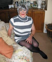 Greycrpstrpysit (fionaxxcd) Tags: transvestite trannie tranny xdresser crossdresser crossdressing m2f mtf gurlboi redlipd rednails blacktights blackpantyhose banglles hooperrings