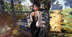 waiting for him (UGLLYDUCKLING Resident) Tags: secondlife sl avatar avi girl brunette virtual world retro style fashion ootd glamour oldstyle car scenery movie leafs autumn blogger ugllyduckling catwa maitreya truth lune rhude kaithleen scandalize promagic ligt sun cigarette smoke