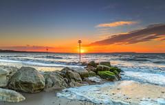 Island Sunrise (nicklucas2) Tags: seascape beach avonbeach dorset mudeford groyne sea seaside solent wave cloud sunrise isleofwight