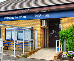 Scotland West Highlands Argyll the entry to Oban train station from the train arriving platform 7 July 2018 by Anne MacKay (Anne MacKay images of interest & wonder) Tags: scotland west highlands argyll entry oban train station building scotrail 7 july 2018 picture by anne mackay