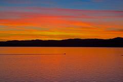Solitary (L@nce) Tags: sunset redsky ocean salishsea boat wave wake canada britishcolumbia victoria jamesbay dallasroad ogdenpoint breakwater nikon nikkor 105mm micro