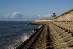 Shapes of the Sea (Daniel Kearney) Tags: blackpool fyldecoast lancashire northwest sea sand promenade wave bluesky nikon d80 danielkearney digital colour seafront seadefences seawall southbeach mirrorball