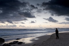 Morning Watch (armct) Tags: morning sunrise breeze onshore shoreline shore waves pattern reflection sand beach horizon skyline watcher watching cool wet rocks currumbin clouds calm peaceful peace alone contemplation tender light relaxation