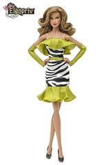 """Zebra Starbright Dress"" for Stormer (elenpriv) Tags: zebrastarbrightdress stormer 12inch colorinfusion fashion doll integrity toys jasonwu elenpriv elena peredreeva handmade clothes dollclothes jemandtheholograms"