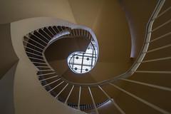 U P (Elbmaedchen) Tags: staircase stairwell stairs steps stufen treppenhaus treppenauge treppe roundandround architecture interior upanddownstairs curvy geländer