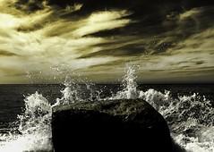 The Rock (Jun Photographie) Tags: junphotographie sunset wave waves rock skyphotographie sepiaphotography wildlife yellow wallpaper beach naturephotography sea sky yellowsky normandie normandy
