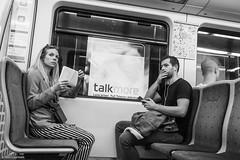 Silence is golden (NikonStone (on and off)) Tags: gatefoto oslo tbanen streetphoto streetphotography monochrome metro sporveien meeting silence