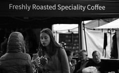 Freshly Roasted Specialty  Coffee (Bury Gardener) Tags: ely cambridgeshire england eastanglia uk 2018 nikond7200 nikon bw blackandwhite monochrome mono snaps streetphotography street strangers streetcandids candid candids people peoplewatching folks