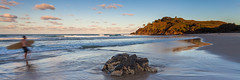 Sunset Surfer (Martin Canning) Tags: 1740 5dmarkii australia cabaritabeach canon canon5dmarkii leefilters martincanning martincanningcom nsw newsouthwales beach beachscape landscape light seascape sunset water watermovement