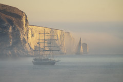Old Harry and the Lord (julian sawyer - Purbeck Footprints) Tags: purbeckfootprints juliansawyer isleofpurbeck lordnelson jurassiccoast oldharryrocks mist sea swanage jubilee sailing trust