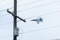 F-18 Takes a Turn (Neal3K) Tags: atlantaairshow hamptonga georgia atlantamotorspeedway f18 jet airplane transformer wires