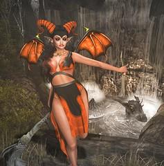 Demon inside of me (Silky Lynn) Tags: evelineinthebox swallow elemental vengefulthreads veechi poseidon demon halloween virtual roleplay 2ndlife fantasy dragon fashion