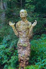 Garden Muse (Karen_Chappell) Tags: travel garden green statue sculpture art usa northcarolina botanicalgarden leaves chapelhill