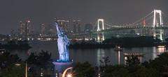 Odaiba - Tokyo, Japan (inefekt69) Tags: odaiba tokyo japan night rainbow bridge statueofliberty bay sea water cityscape city skyline お台場 レインボーブリッジ 東京 日本 panorama