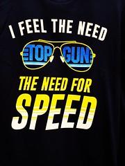 The need for speed (Thad Zajdowicz) Tags: topgun sandiego california usa zajdowicz cellphone ussmidway text sign smartphone snapseed color shirt samsung galaxy s9