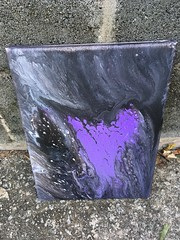 Purple Heart In The Dark (sleeplesstearstains) Tags: abstract acrylic acrylicpaint artist canvas art purple pour acrylicpoured black heart artsy sell support facebookartist painter painting