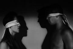 La coppia (nicolamarongiu) Tags: biancoenero blackandwhite concept surrealism bende ombre shadows chiaroscuri flash man woman couple coppia monocrome