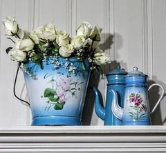 enamelware (YourCastlesDecor) Tags: enamelware aqua turquoise vintage bucket pail coffeepot teapot enamel frenchenamelware
