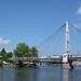 Mosty i wieża kościoła ewangelicko-augsburskiego Świętej Trójcy od strony jeziora Mikołajskiego