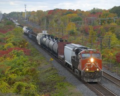 Fall colours (Michael Berry Railfan) Tags: cn canadiannational cn368 train freighttrain beaconsfield montreal quebec kingstonsub cn2312 ge generalelectric gevo es44dc