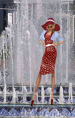 Wet Polka dot Dress (SoakinJo) Tags: wetlook wetclothes wetdress fountain wetclothing tashkent highheels stilettos