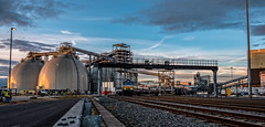 Drax in the late sun (Peter Leigh50) Tags: power station train gbrf class 66 sky sunset industrial works railway railroad rail track machinary building factory fujifilm fuji xt2