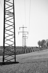 High-voltage transmission line (www.holgersbilderwelt.de) Tags: nature white light sky black landscape street tree art mountain autumn europe plant grass outdoor monochrome way fine shadow amazing classic kunst weather scenic silhouette culture rural countryside traditional public peace perspective agriculture meadow saxony sachsen rustic dresden schwarzweiss erzgebirge valley aperture