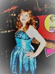 blue satin party dress (Martina H.) Tags: red petrol dress ball evening cocktail party girl woman elegant beauty satin