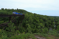 Dead River bridge and the river (GLC 392) Tags: lsi lake superior ishpeming railroad railway iron ore train dead river trestle bridge valley ge ac44cw ac4400cw going wide angle rock tree trees cefx 1015 1004 over top