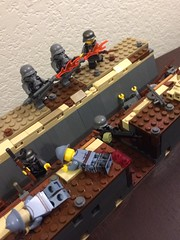 Reserves pulled up to hold their trench!! (thelameguitarist) Tags: ww1 lego german flamethrower trench