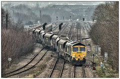 Dying embers (david.hayes77) Tags: coal 4r14 freightliner shed 2015 66544 barrowhill freight cargo industrial northderbyshire derbyshire dull bleak mist murk coaltraffic snake stark