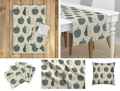 Apple + Pear Weathered Pattern (latheandquill) Tags: fall autumn apple pear fruit pattern fabric kitchen texture weathered spoonflower home decor grey gray farmhouse hygge