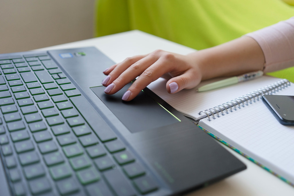 Close Up of Woman's Hand on the Laptop a by wuestenigel, on Flickr