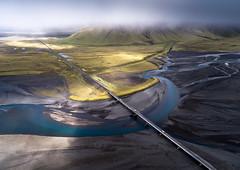 Mighty Flow (Dani℮l) Tags: iceland aerial drone danielbosma landscape sander southiceland river sediment flow sunlight bridge