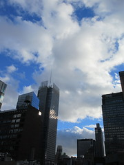 2018 October Cloud Strewn Sky Reflection NYC 2588 (Brechtbug) Tags: 2018 october cloud strewn sky nyc virtual clock tower from hells kitchen clinton near times square broadway new york city midtown manhattan stormy weather building no hanging cumulonimbus blue cumulus nimbus fall hell s nemo southern view ny1 10132018