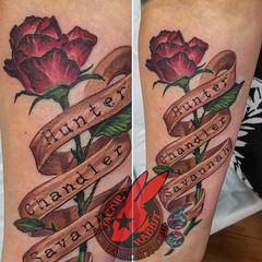 Rose Bud Longstem Stem Leaf Red Burgundy Banner Name Names Font Lettering Child Daughter Mother Color Best Real Realistic 3D Tattoo by Jackie Rabbit