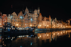 Gdansk (rckey) Tags: yellow cityscape city reflections street travel reflection urban old poland summer stars shadows gdansk outdoors lighter architecture europe light window color sky town view beautiful ship river house roof water