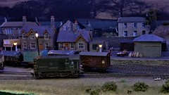 Alwinton Station at Night. (ManOfYorkshire) Tags: alwinton oogauge 176 scale model railway layout exhibit onshow diaplst locomotion museum show exhibition 2018 night nighttime shunter class08 wagons station sacks goods shunting