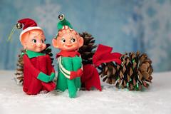 Vintage Christmas Elf Knee Huggar Tree Ornament (ShebleyCL) Tags: ornament holidays celebration season toy pixie elves decorations elf xmas christmas greetings vintage